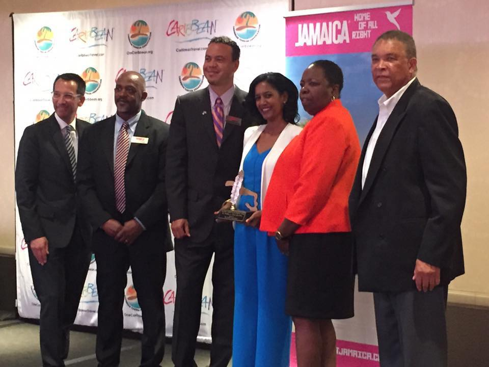 Photos with the Jamaica Tourist Board–and the luncheon MC–after receiving my award.