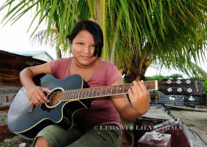 Lilly Aldana, student at Caye Caulker Ocean Academy high school and future Mayan musician