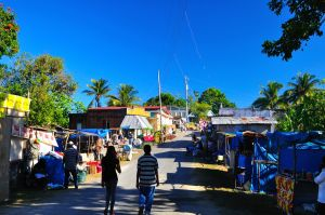 1. Accompong Town Centre, where vendors are getting ready for the more than hundred visitors on Maroon Festival Day.