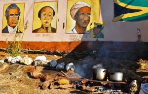 3. Murals of Jamaican heroes in Accompong Town, including the Nanny of The Maroons.