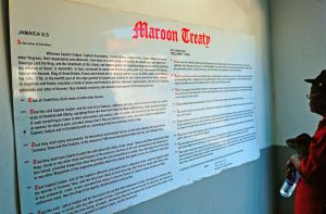2. Maroon Treaty of 1737 mounted at the entrance of the local museum in Accompong Town. There is no entrance fee and it is very much worth a visit.