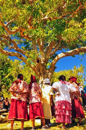 7. The women prepare to sing and chant at the ceremony.