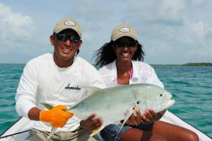 Catching a jack with Ken Coc, Belize's 2011 Best (Fishing) Guide and member of Best Fishing Team, Anglers Abroad