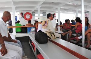 Red, blue and white aboard