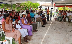 The ceremony begins. On far left, First Lady of Belize Mrs. Kim Barrow