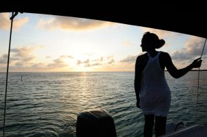 Enjoying sunset on EZ Boyz Tours' catamaran in Caye Caulker