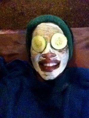 Enjoying a mud mask at Maruba Spa - probably the silliest I have ever looked!