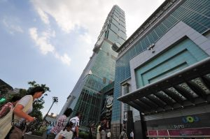 Outside Taipei 101 in Taipei, capital city of Taiwan