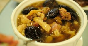Winter-picked mushroom and pig tendon soup